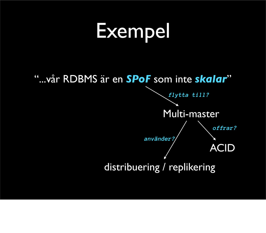 """Exempel """"...vår RDBMS är en SPoF som inte skala..."""