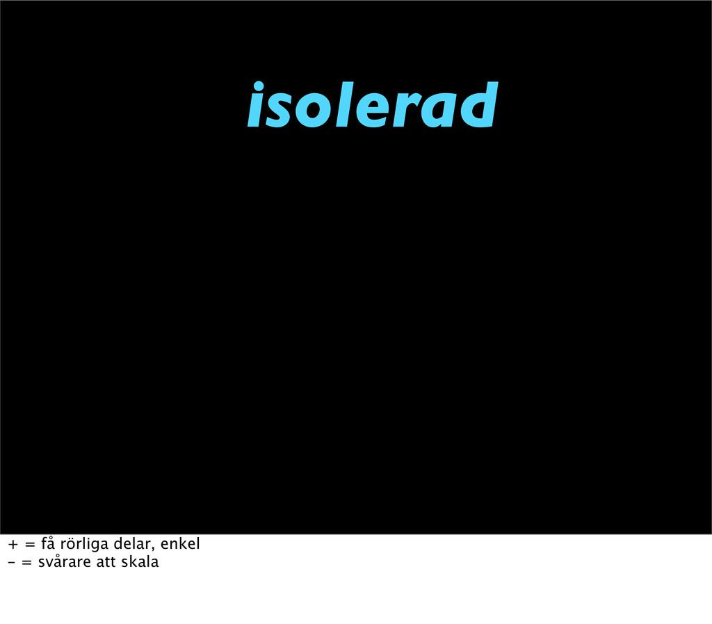 isolerad + = få rörliga delar, enkel - = svårar...