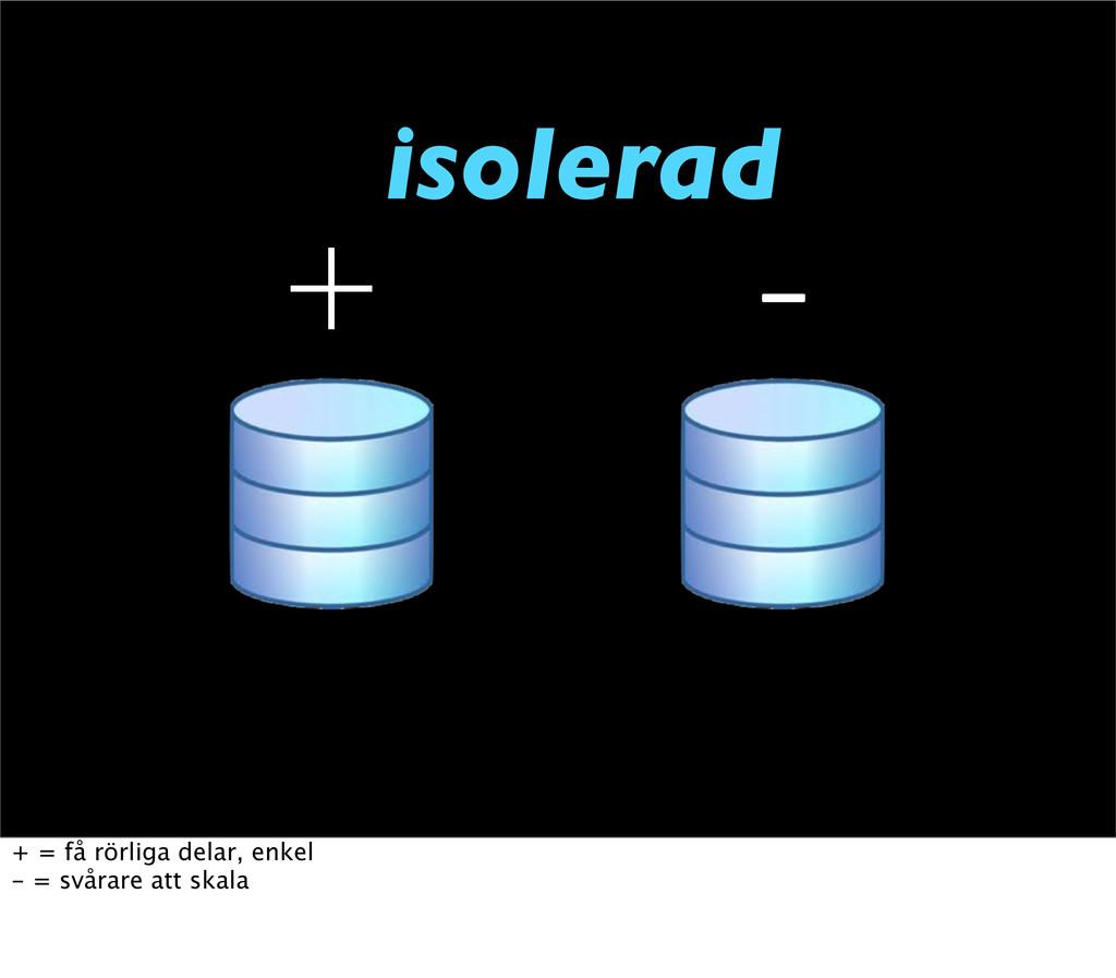 isolerad   + = få rörliga delar, enkel - = sv...