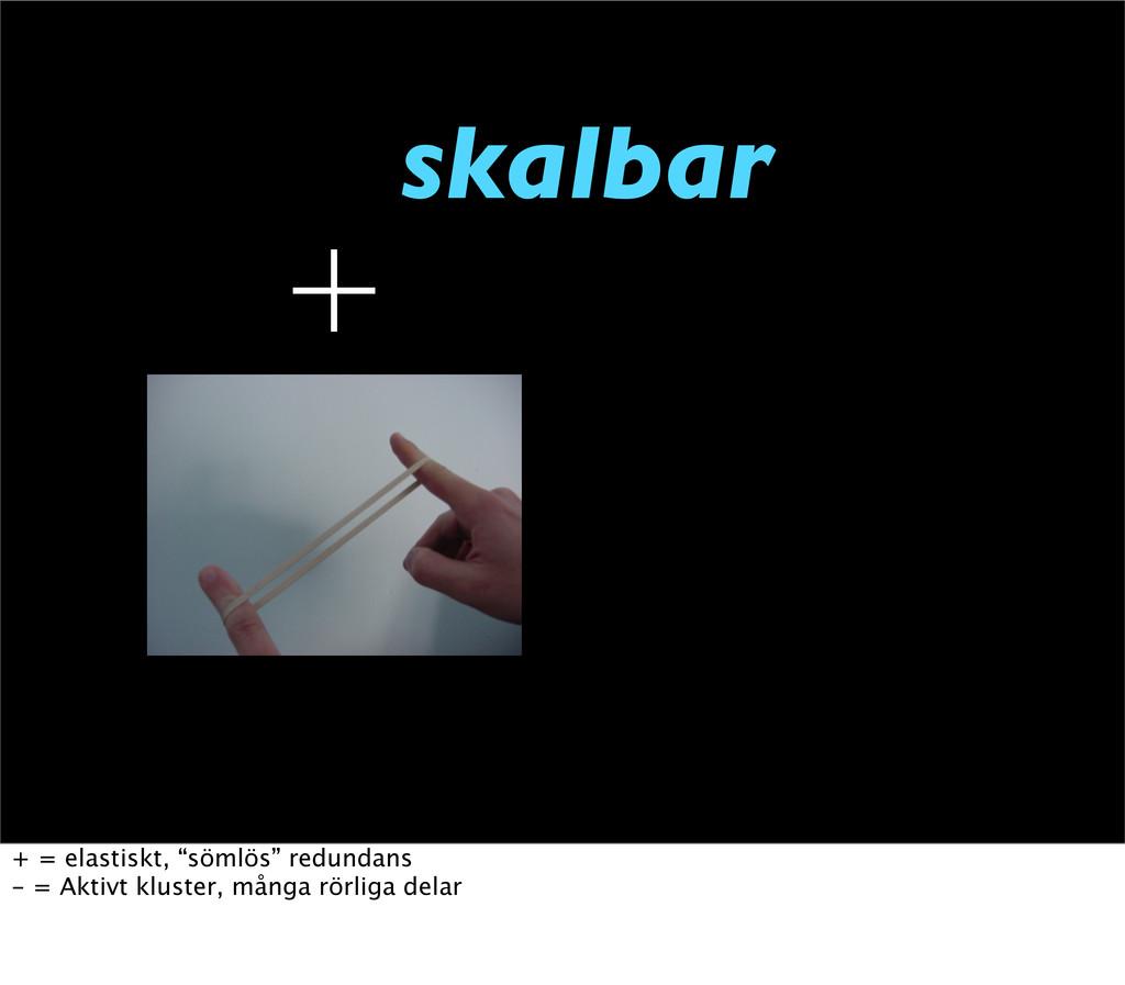 "skalbar  + = elastiskt, ""sömlös"" redundans - =..."