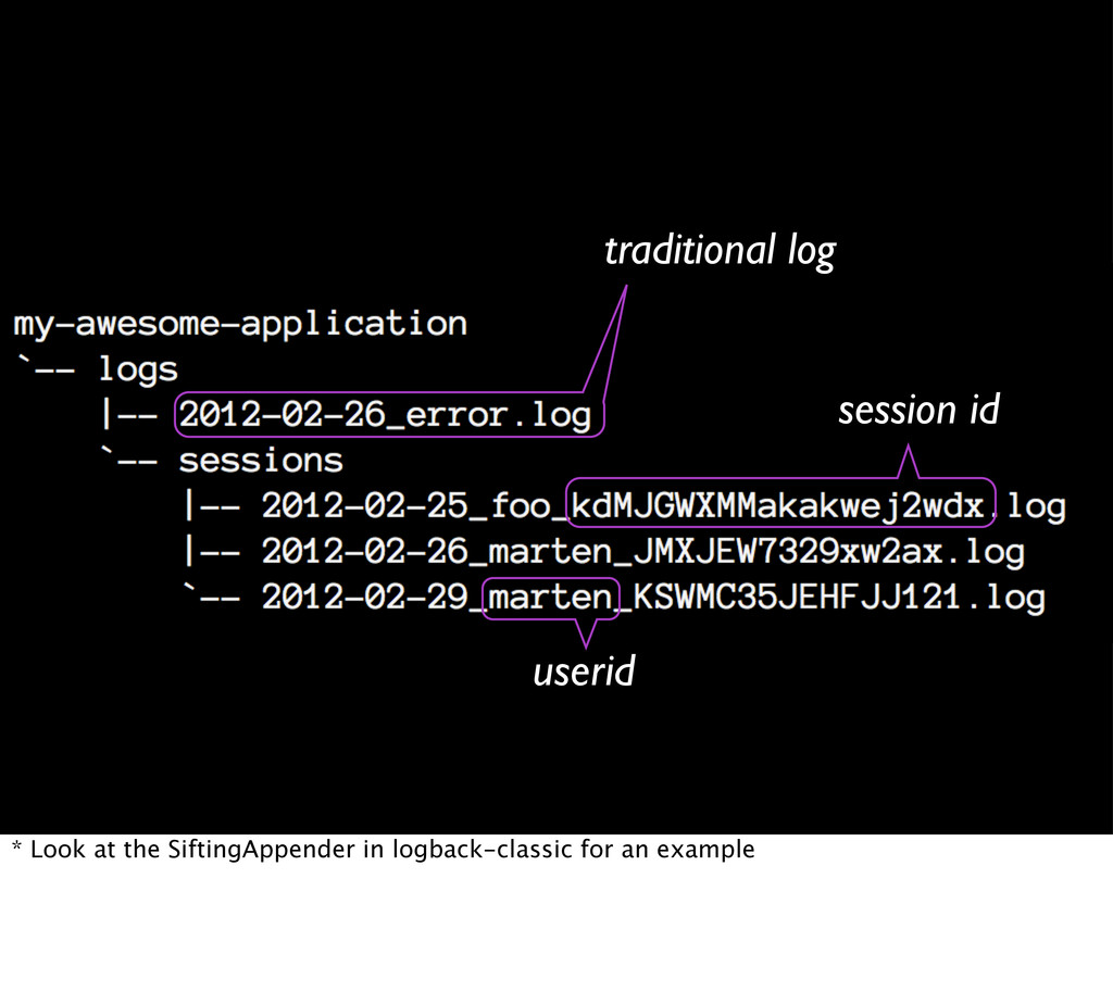 traditional log userid session id * Look at the...