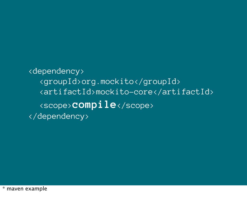 <dependency> <groupId>org.mockito</groupId> <ar...
