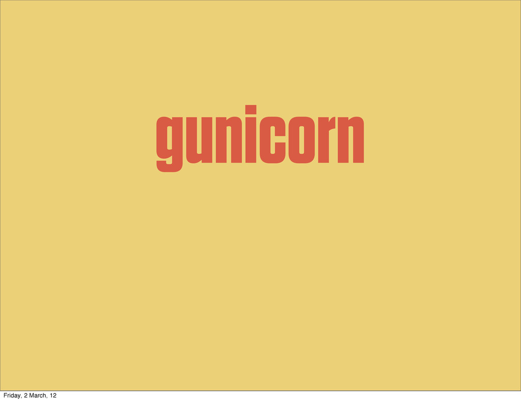 gunicorn Friday, 2 March, 12