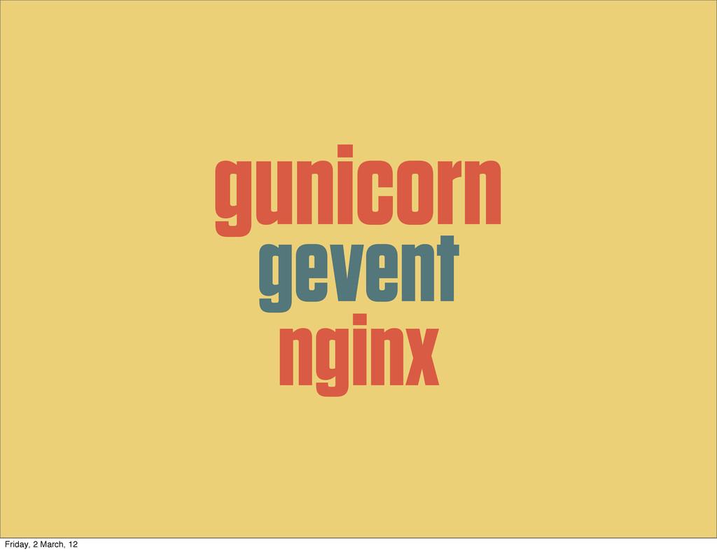 gunicorn gevent nginx Friday, 2 March, 12