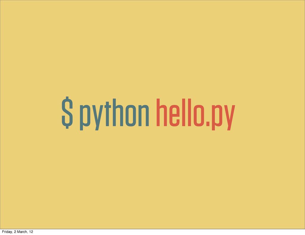 $ pythonhello.py Friday, 2 March, 12