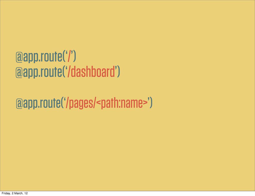 @app.route('/dashboard') @app.route('/') @app.r...