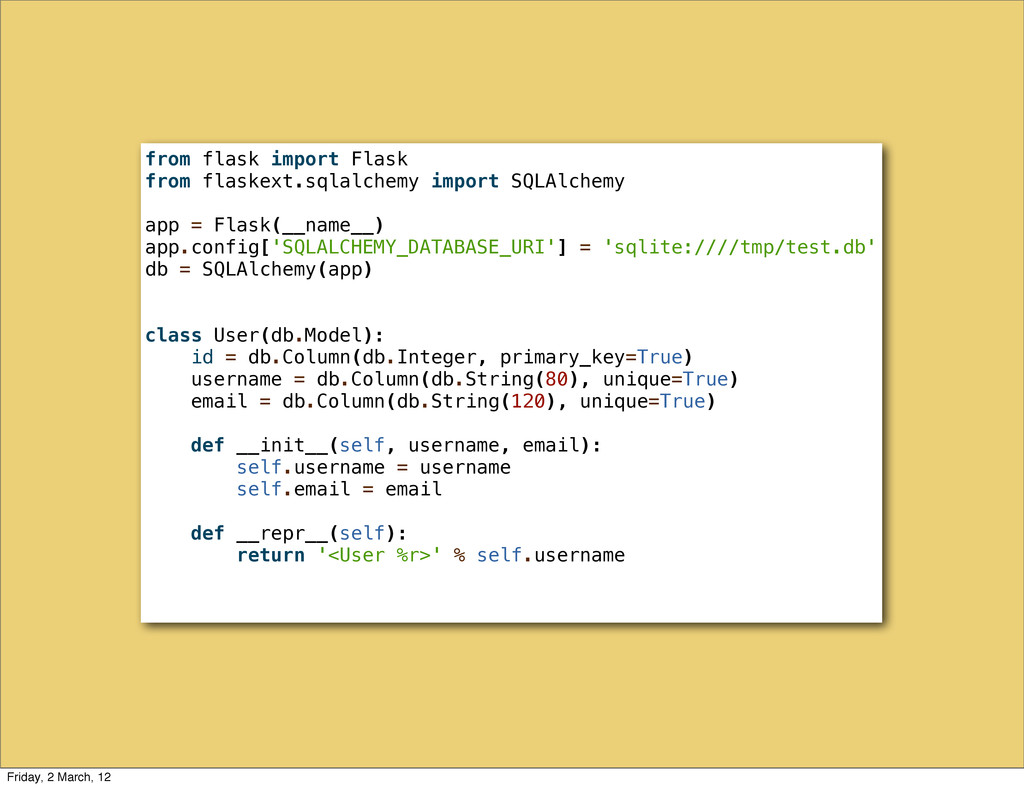 from flask import Flask from flaskext.sqlalchem...