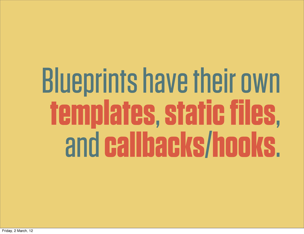 Blueprints have their own templates, static file...