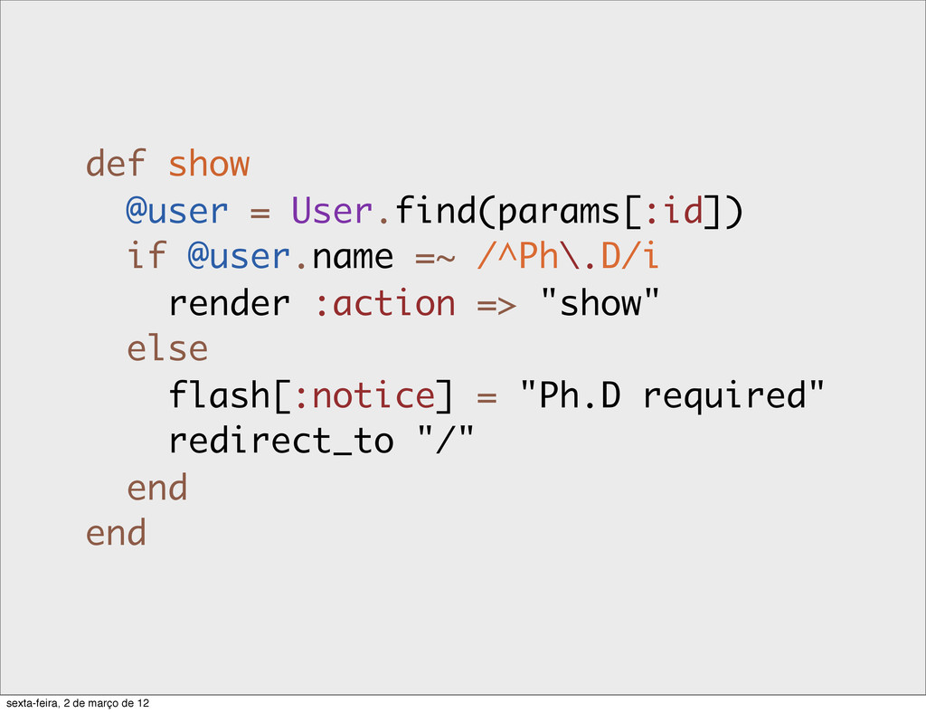 def show @user = User.find(params[:id]) if @use...