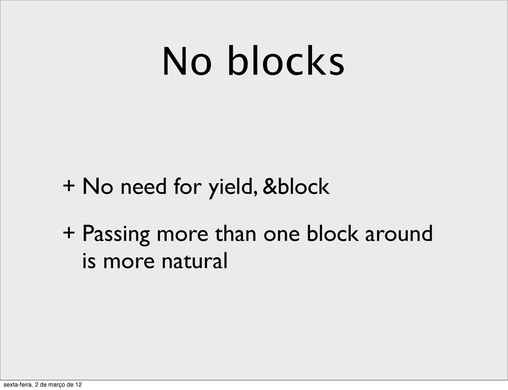 No blocks + No need for yield, &block + Passing...