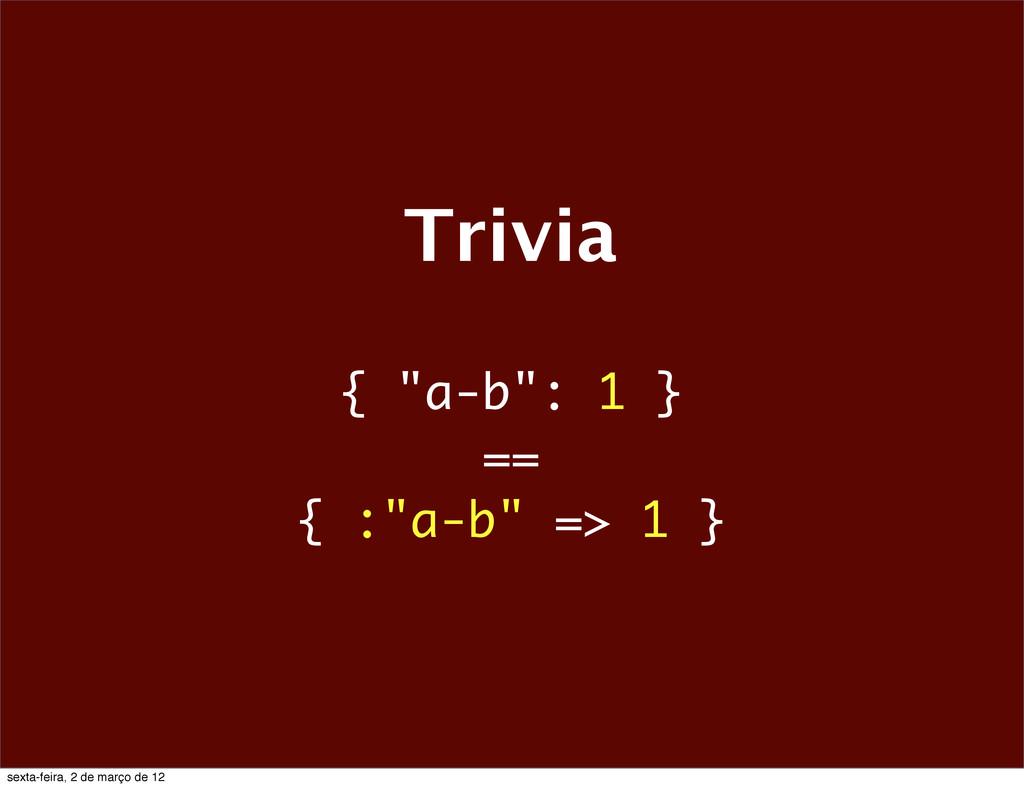 """Trivia { """"a-b"""": 1 } == { :""""a-b"""" => 1 } sexta-fe..."""