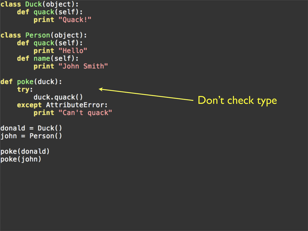 Don't check type