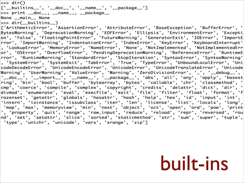 >>> dir() ['__builtins__', '__doc__', '__name__...