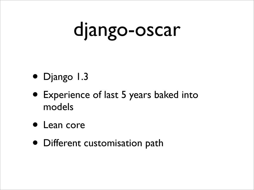 django-oscar • Django 1.3 • Experience of last ...