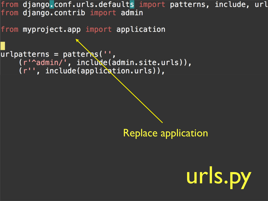 Replace application urls.py