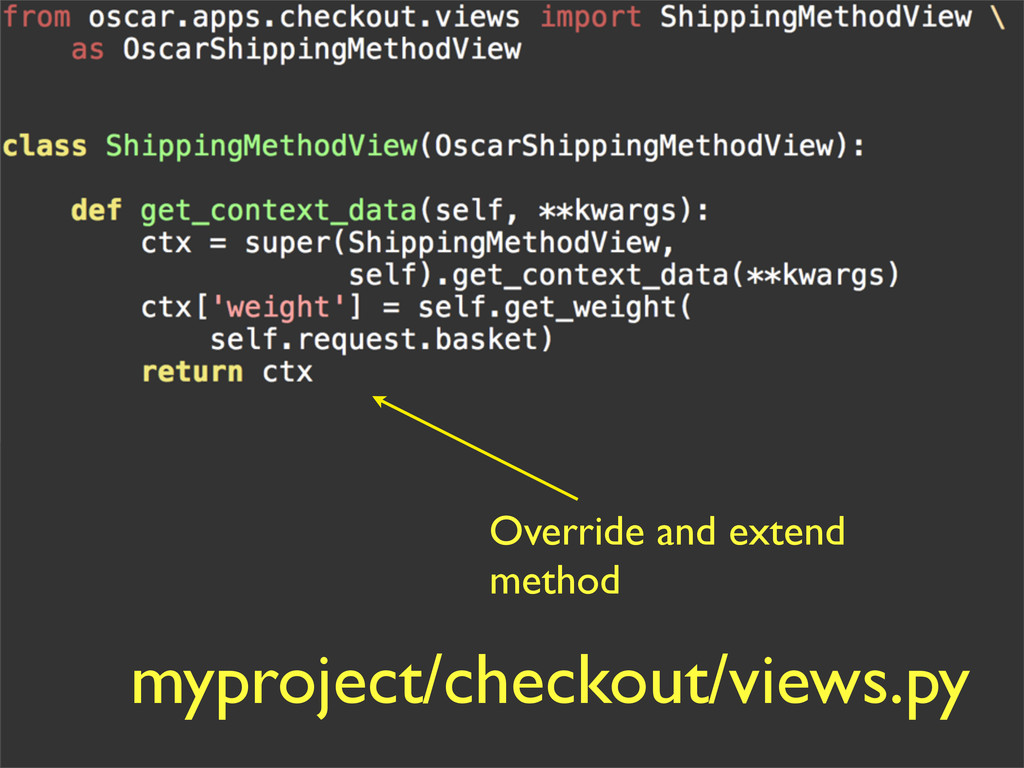 myproject/checkout/views.py Override and extend...