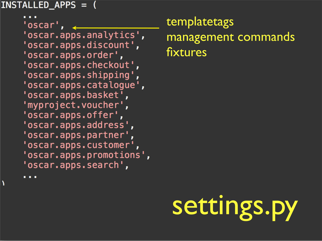 templatetags management commands fixtures settin...