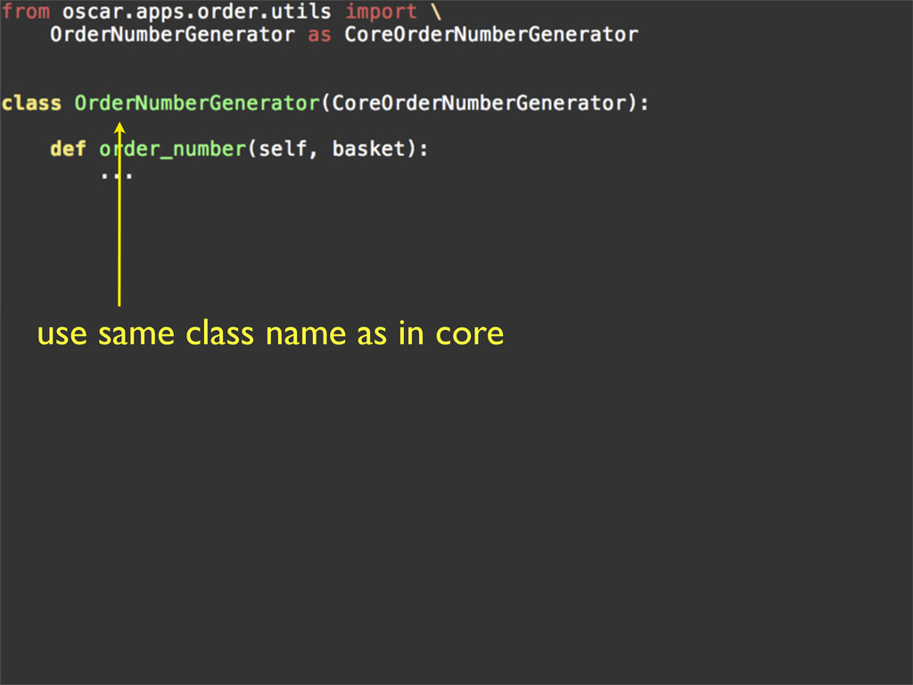 use same class name as in core