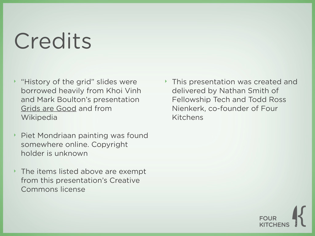 """Credits ‣ """"History of the grid"""" slides were bor..."""