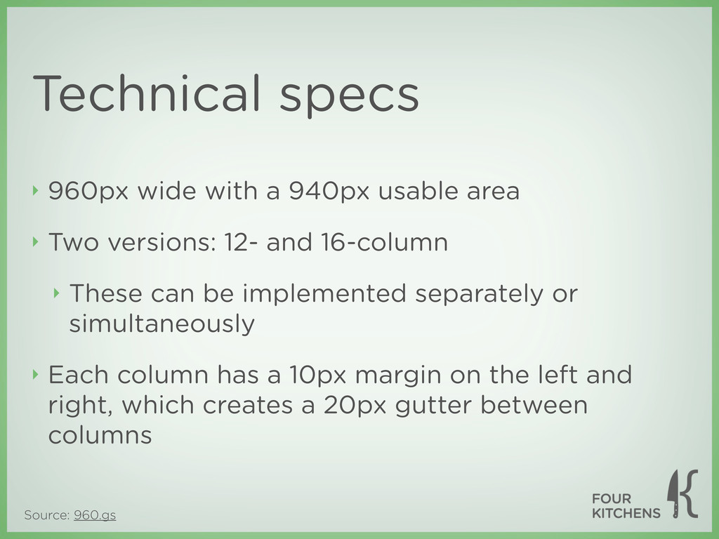 Source: 960.gs Technical specs ‣ 960px wide wit...