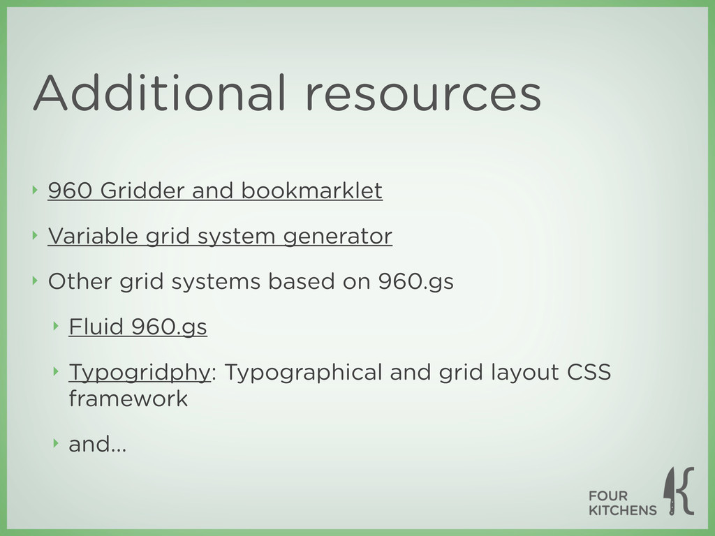 Additional resources ‣ 960 Gridder and bookmark...