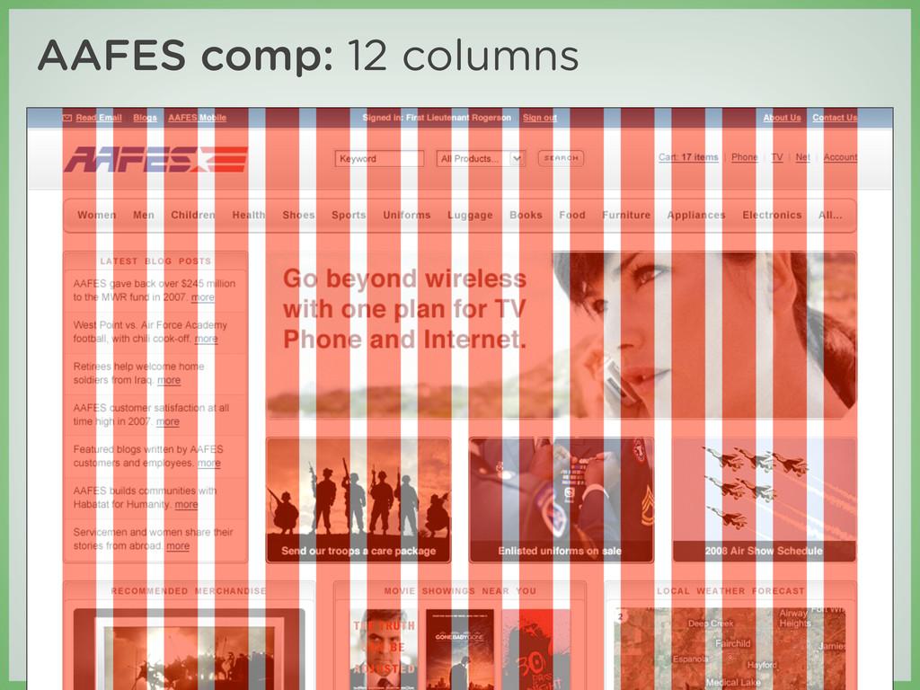 Credits AAFES comp: 12 columns