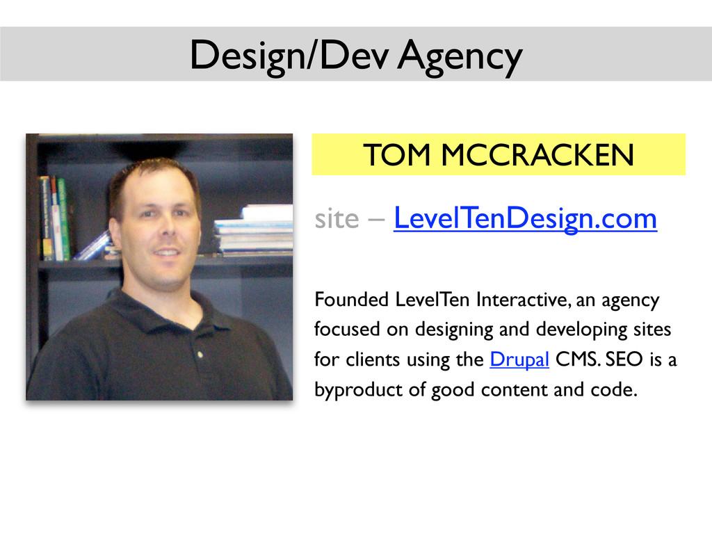 TOM MCCRACKEN site – LevelTenDesign.com Founded...