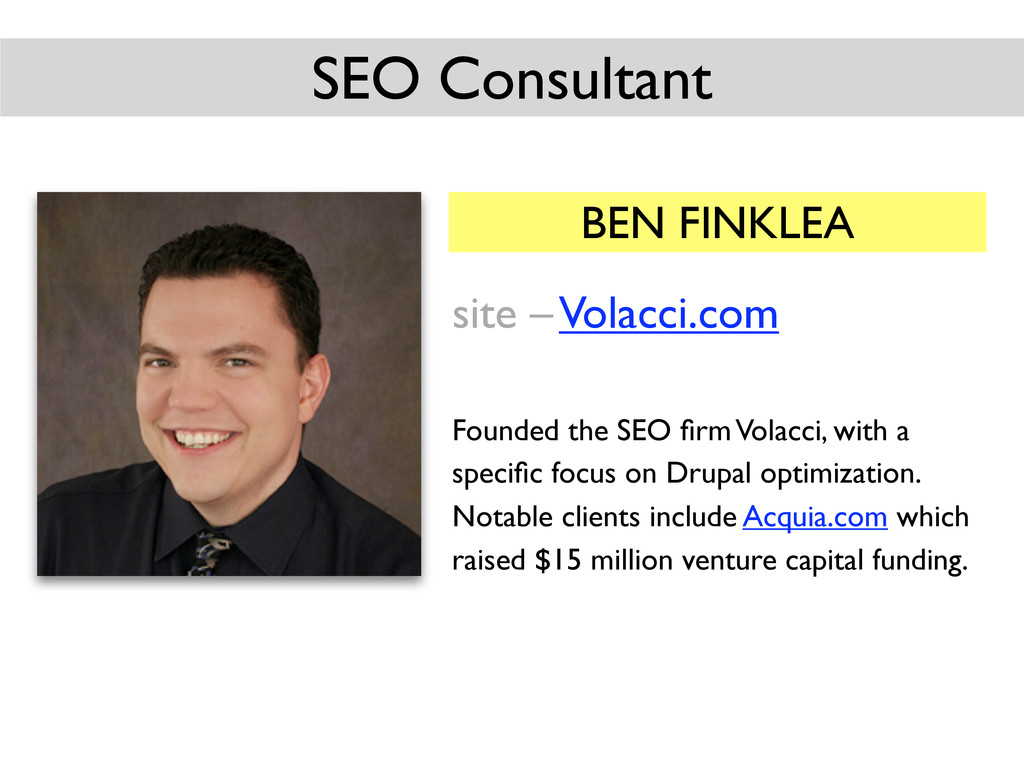 BEN FINKLEA site – Volacci.com Founded the SEO ...