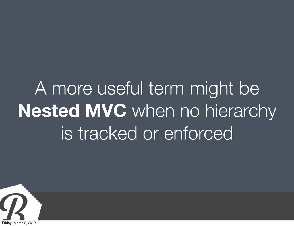 A more useful term might be Nested MVC when no ...