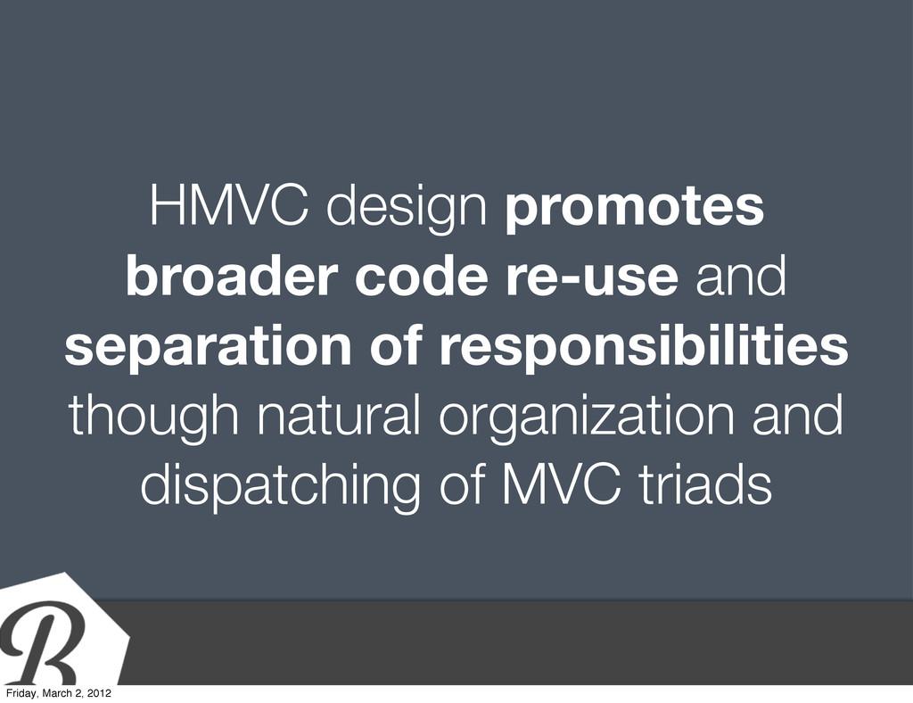 HMVC design promotes broader code re-use and se...