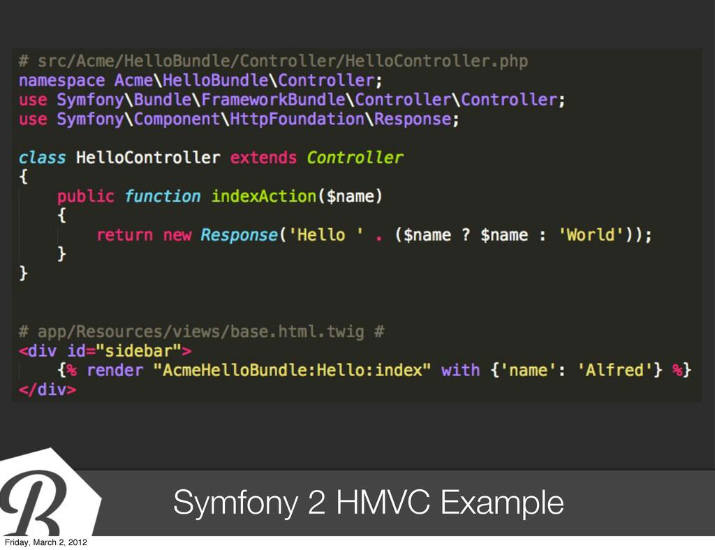 Symfony 2 HMVC Example Friday, March 2, 2012