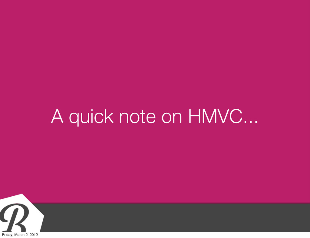 A quick note on HMVC... Friday, March 2, 2012