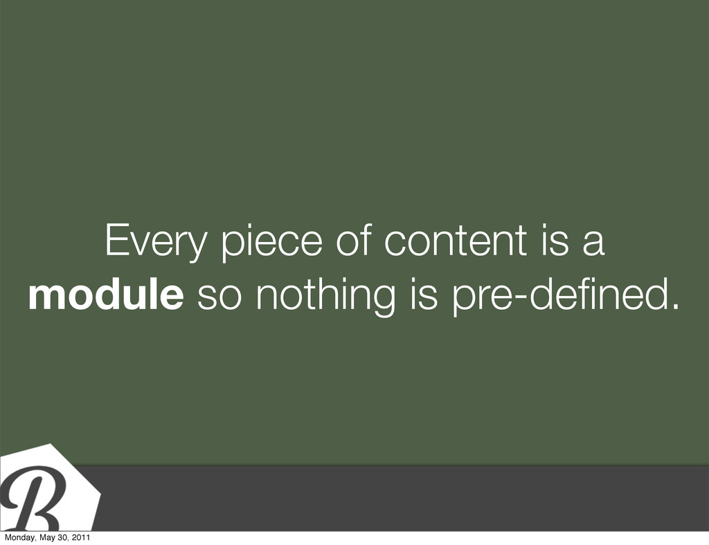 Every piece of content is a module so nothing i...