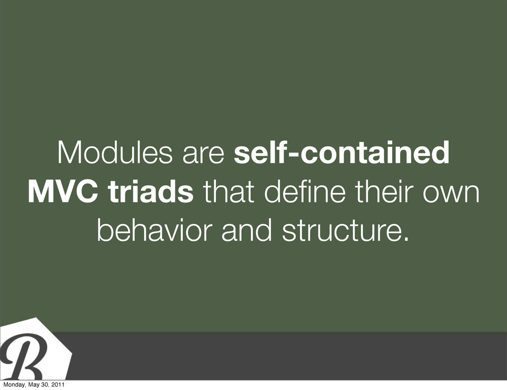Modules are self-contained MVC triads that defin...