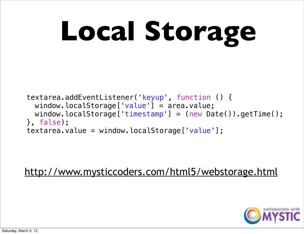 Local Storage textarea.addEventListener('keyup'...