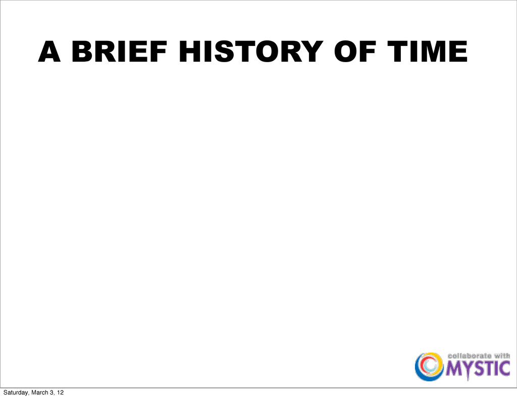 A BRIEF HISTORY OF TIME Saturday, March 3, 12