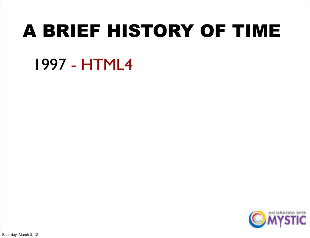 A BRIEF HISTORY OF TIME 1997 - HTML4 Saturday, ...