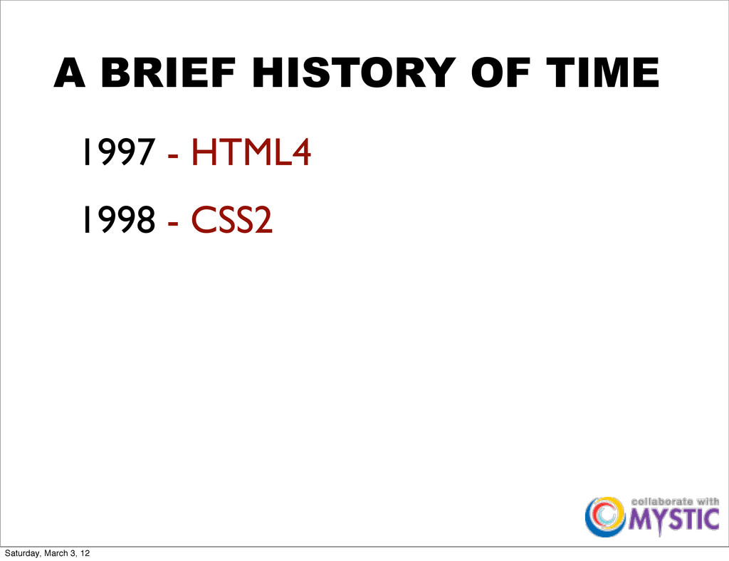 A BRIEF HISTORY OF TIME 1997 - HTML4 1998 - CSS...