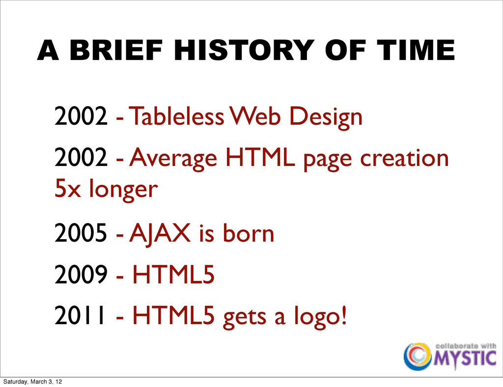 2009 - HTML5 A BRIEF HISTORY OF TIME 2002 - Tab...