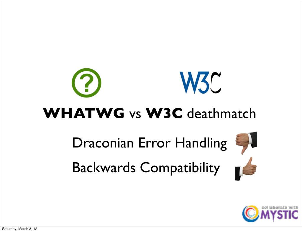 WHATWG vs W3C deathmatch Backwards Compatibilit...