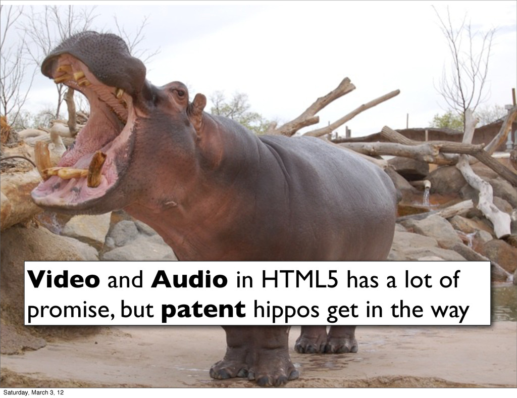Video and Audio in HTML5 has a lot of promise, ...