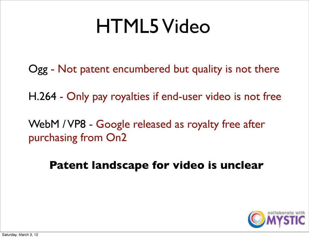 HTML5 Video Ogg - Not patent encumbered but qua...