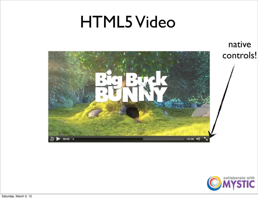 HTML5 Video native controls! Saturday, March 3,...