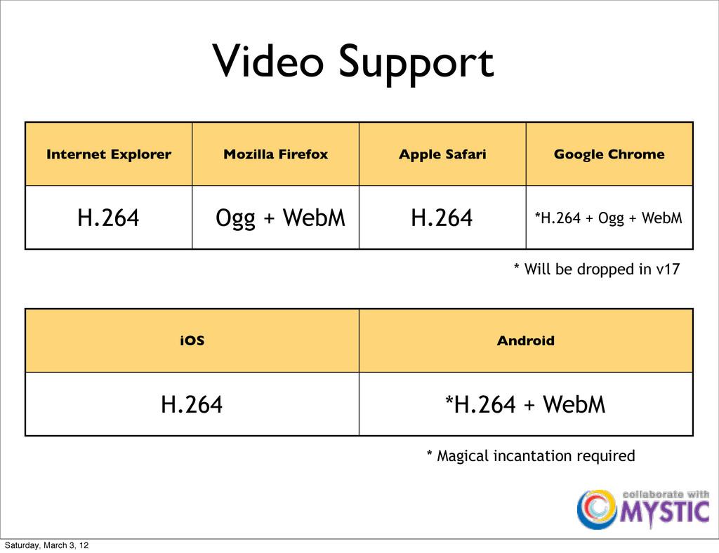 Video Support Internet Explorer Mozilla Firefox...