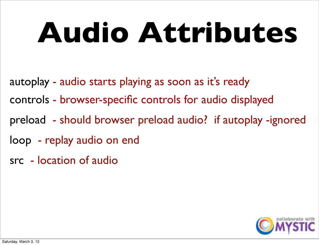 autoplay - audio starts playing as soon as it's...