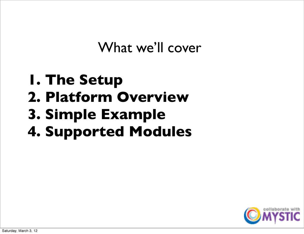 1. The Setup 2. Platform Overview 3. Simple Exa...