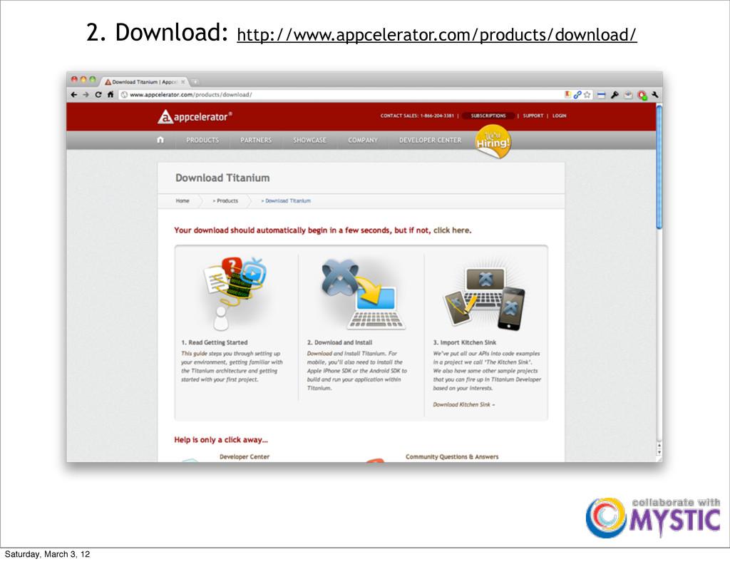 2. Download: http://www.appcelerator.com/produc...