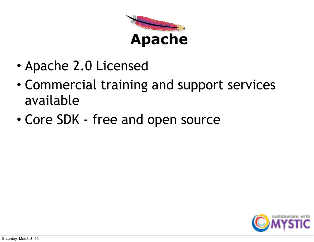 • Apache 2.0 Licensed • Commercial training and...