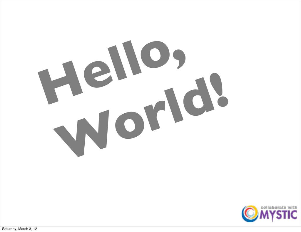Hello, World! Saturday, March 3, 12