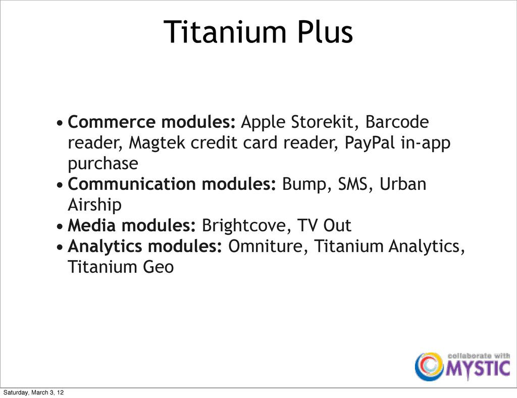 Titanium Plus • Commerce modules: Apple Storeki...